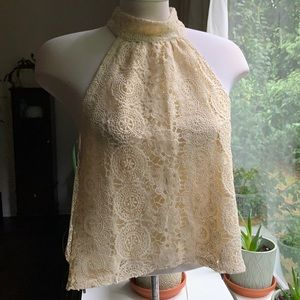 Forever21 Lace Top Open back Cream